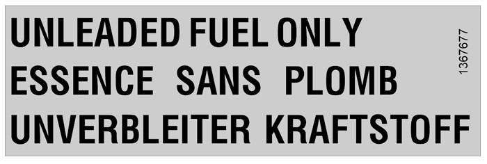 1367677 Volvo 240 Fuel Door Label.