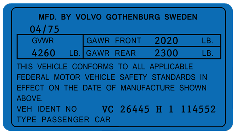 Volvo 164 VIN Label
