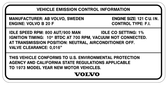 Volvo 1800 1973 B20F Emission                               Label