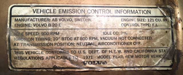 Volvo 1800E 1971 B20E Emission Label