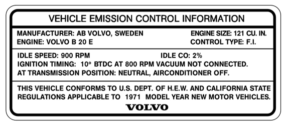 Volvo 1800                       1971 B20E Emission Label