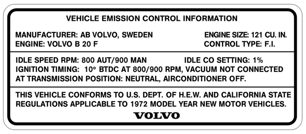 Volvo 1800 1972 B20F Emission Label