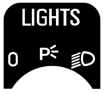 Volvo 240 headlight switch sticker.