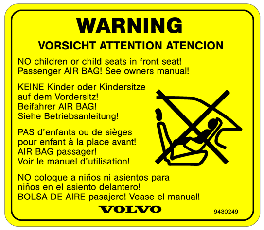 Volvo Warning child seat label.
