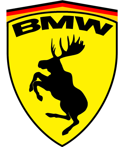 Prancing Moose BMW Sticker.