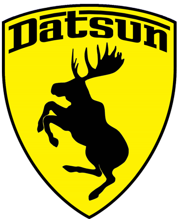 Prancing Moose Datsun sticker.