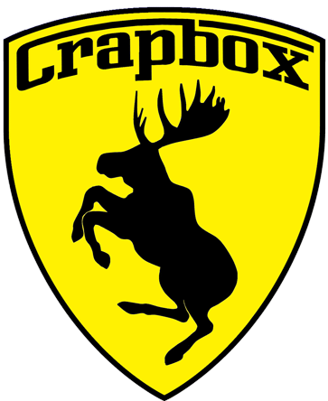 Prancing Moose Crapbox sticker.