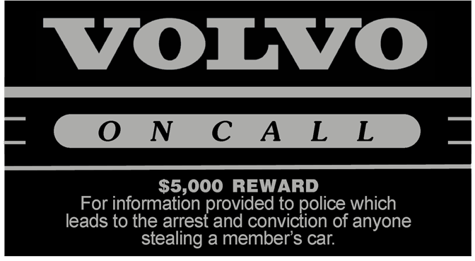 Volvo On Call decal.