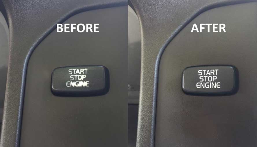 Volvo start button label.