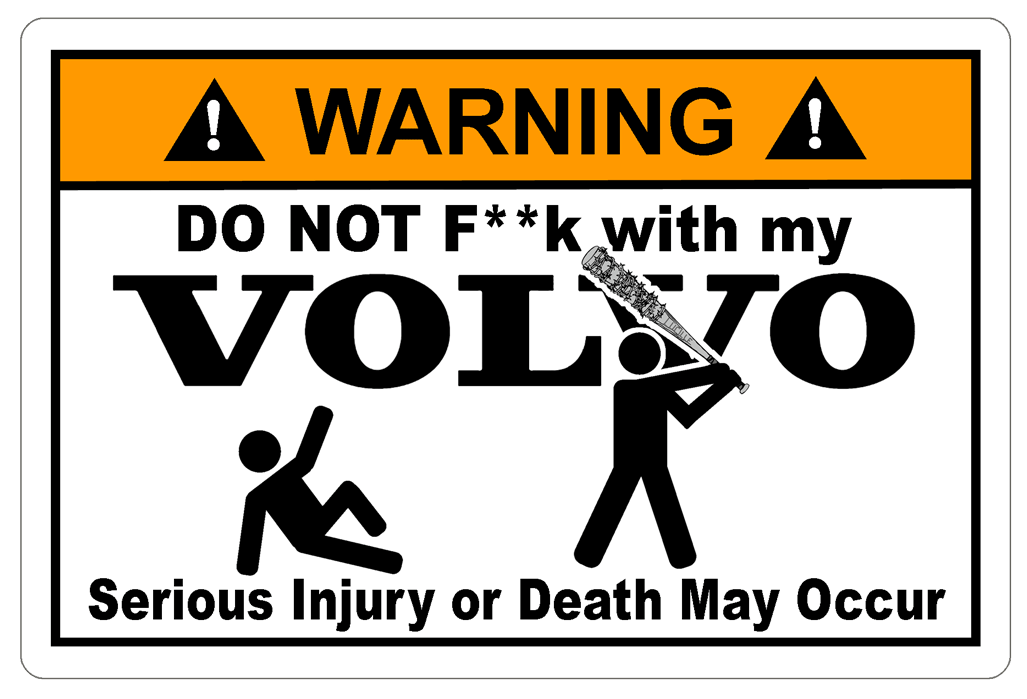 Volvo Warning  Serious Injury decal.